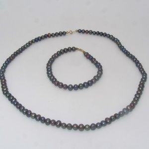 Jewelry - 14k Black Pearl Necklace and Bracelet